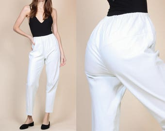 80s White Faux Leather Pants - Small/Medium // Vintage 90s High Waist Pleather Trousers