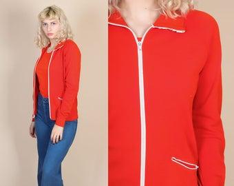 Retro 70s Track Jacket - Small // Vintage Red Collared Zip Up Sweatshirt