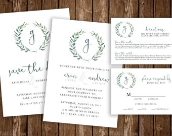 Monogram Wreath Printable Wedding Invitation Set - DIY Printable PDF Download