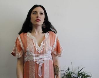 1970s Bell Sleeve Kaftan Maxi Dress, Pale Pink Organic Embroidered Dress