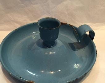 Vintage Candlestick Enamel Blue