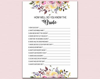 How Well Do You Know the Bride, who knows the bride best printable, bridal shower games printable watercolor floral INSTANT DOWNLOAD pdf BL2