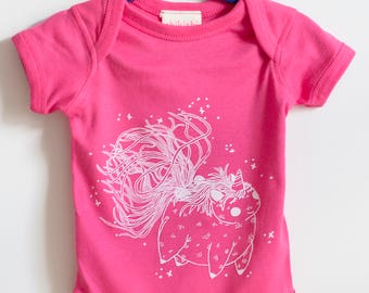 Unicorn baby, Baby onesie, baby gift, birth gift, unicorn, screenprinted, hand made, made in canada, made in québec