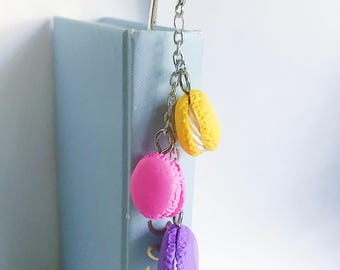 Metal Bookmarks, Page Markers and Planner Accessories, Trio of Clay Macaroon Charms