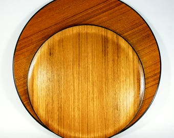 Set of 2 Round Teak and Black Lacquer Japanese Molded Plywood Trays