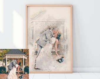 Aangepaste aquarel, aangepaste portret, familie portret, paren geschenk, aangepaste schilderij, gepersonaliseerd geschenk, gepersonaliseerd verjaardag van het huwelijk