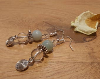 Natural amazonite stones and rock crystal earrings