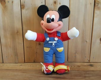 Vintage Baby Interactive Toy Mickey Mouse Disney Babies Plastic The Walt Disney Company Learning Shoelaces Buttons Zippers