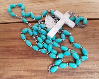 Vintage Rosary Turquoise Aqua Plastic Beads Virgin Mary Jesus Crucifix Cross Antique First communion Prayer Confirmation Wedding