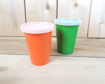 Vintage Tupperware Set of Two Small Plastic Cups Green and Orange Drinking Cup with Lid Made in Canada Mod Retro Kitchen Camping Kid Juice