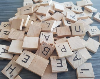 100 Scrabble Tiles Taken From a 1989 Box Very Good Condition Replacement Parts Mosaic Craft Supplies