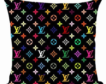 Louis Vuitton Inspired LV Lovers Cover Decorative Black Beige Fashion Home Decor Couture Cushion Cover Throw Pillow Multicolor Monogram