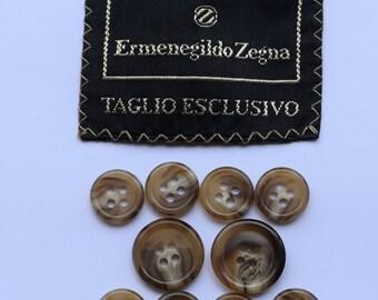 Set of 10 pcs Ermenegildo Zegna plastic buttons 2 big and 8 small