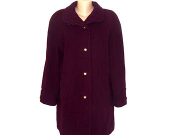 Vintage Wega Fashion women coat WOOL and CASHMERE burgundy
