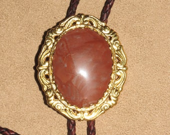 BT10 Gold frame red canyon agate 40x30 cabochon with tapered tips
