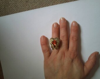 """ring """"winged heart and Red rhinestones"""""""