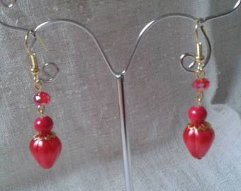 """harmony of gold and Red"" earrings"