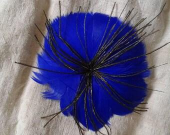 """brooch """"flower blue feathers"""""""