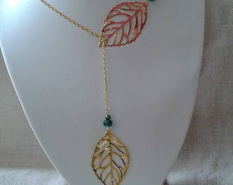 """two big golden leaves"" necklace"