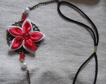 """""""headband"""" print and red and white flower """""""