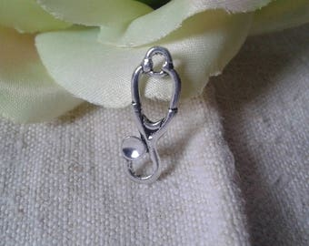 """set of 10 """"stethoscope"""" charms, silver metal"""
