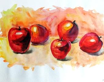 Red apples Watercolor painting Apples print Kitchen decor Fruit art print Kitchen art Apples wall art Food art Colorful
