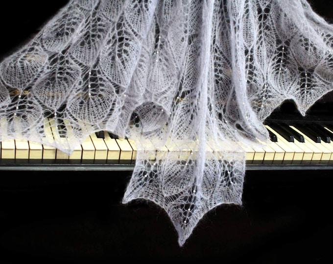 Knitted shawl, gray shawl, wedding wrap, knit shawl with beads, knit scarf, bridal shawl, mohair shawl, openwork scarf, handknit shawl,wrap