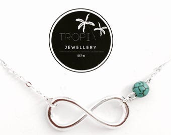 Turquoise Marble Infinity Anklet