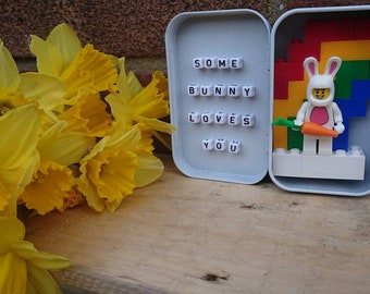 Tin//Easter/Some bunny loves you/Rabbit/Handmade/Minifigures//Gift//Personalise//Geek//Love//Mothers Day //Lego//Mothers Day//Birthday/