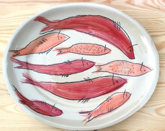 """Red fish"" tray. For salad, tapas, homemade desserts. As decoration or collection. For Emplatar desserts or special dishes"
