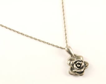 Vintage Rose Flower Design Necklace 925 Sterling Silver NC 1128