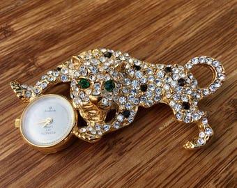 Kenneth Jay Lane Leopard Pave Brooch Watch