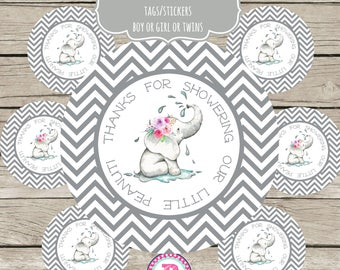 Thanks for showering our little Peanut Stickers Party Labels Favor Tag Treat Bags Baby Shower Thank You Tags Elephant Gray Boy Girl or Twins