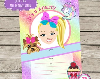 JoJo Siwa Birthday Party Fill In the Blank style Party Invitations Instant Download 5x7 size Bows Puppy Rainbow Unicorn