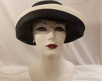 Vintage sun hat.  Deep blue with white trim Sheppard of New York
