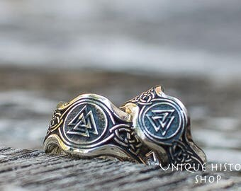Valknut Ring with HAIL ODIN Runes Handmade Viking Ring Sterling Silver Norse Jewelry