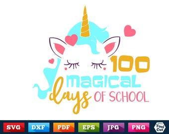 100 Days Svg Unicorn Svg 100 Magical Days Of School SVG DXF EPS School Wording Svg Hundred Days Svg Cricut Magic 100 Days Silhouette Svg Dxf