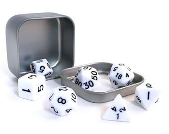 White Opaque Polyhedral Dice Set