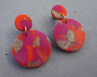 Big Bambino Earrings - Neon Orange / Stud Earrings / Drop Earrings / Abstract Earrings / Modern Earrings