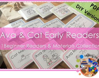 Ava & Cat Set of 11 Beginner Readers, Sight Word Cards, and Early Reading Materials Collection**PDF VERSION**