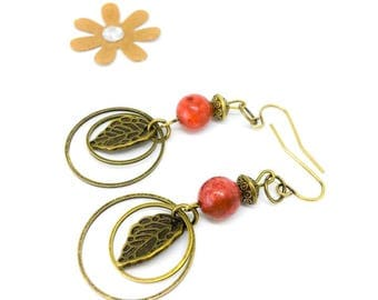 Earrings hypoallergenic surgical steel plated antique gold, Pearl/bronze