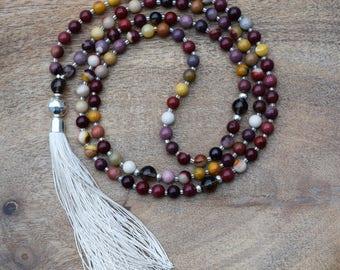 Mookaite Jasper / 108 Bead Mala / Yoga Jewelry / Healing Gemstone / Boho Necklace / Hill Tribe Silver / Spiritual Jewelry / Sterling Silver