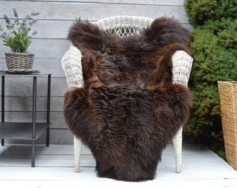 Unique No. 400 Luxury Sheepskin Rug, Throw, Blanket, Rare Breed Brown - Size XL