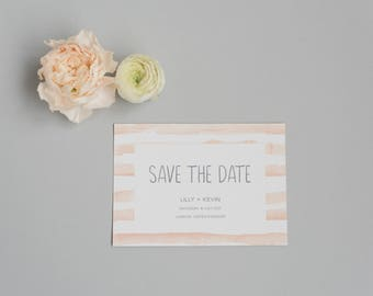 Printable Save the Date card - Rustic Peach Save the Date card - Printable PDF Template  - Modern Spring Save the Date