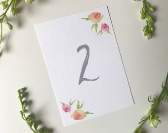 Pink Peach Watercolour Floral Wedding Table Number - Pastel Grey Table Number - Wedding Reception Decor