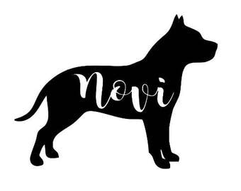 Pit Bull Silhouette Customized Decal Dog Sticker