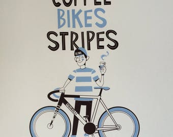 Limited Edition hand printed screenprint coffee bikes stripes A3 paper