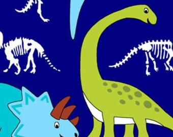 Dinos On Navy Printed Fleece Tied Blanket