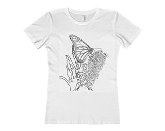 Butterfly Coloring WomenS The Boyfriend Tee