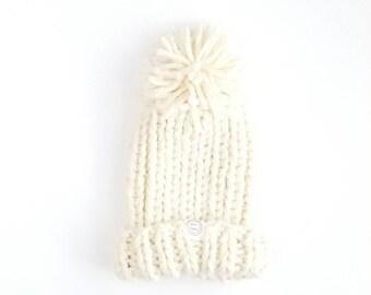 Pom Pom Beanie, Pom Pom Hat, Chloe Kim Beanie, Womens Pom Pom Beanie, Winter Toque Women, Womens Pom Pom Hat, Chunky Knit Pom Pom Hat